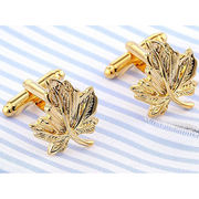 Maple Leaves Cufflinks, Made of Good Quality Copper with Gold Plated, Ideal for Business