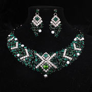 China Fashion and Colorful Necklace Earrings Set for Bride/Birthday Party, Made of Alloy/Rhinestones/Metal