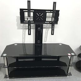 Rotating glass LCD TV floor mount, TV stand design from Langfang Peiyao Trading Co.,Ltd