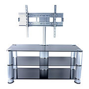 Black glass TV stand with wall mount for 42-65 inches
