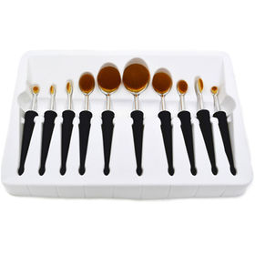 New 10pc Oval Makeup Brush Set with Long Tapered Rubberzised Handle from Shenzhen Rejolly Cosmetic Tools Co., Ltd.