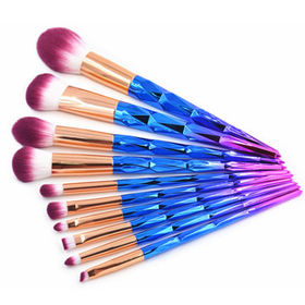 10pc Unicorn Diamond Makeup Brush Set with Irridescent Handle from Shenzhen Rejolly Cosmetic Tools Co., Ltd.