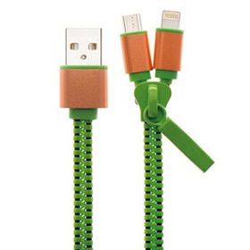 China Mobile phone data cable, USB AM to lightning+micro metal shell,zipper type,black/green/pink cable