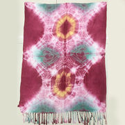 China Tie-dyed Viscose Scarf with Tassels Hanged on