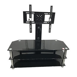 Three layers tempered glass TV stand design,adjustable and rotating from Langfang Peiyao Trading Co.,Ltd