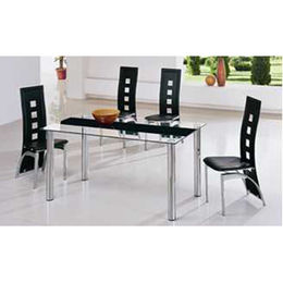 Modern glass dining table set, 1 table and 6 chairs
