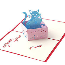 3D Pop UP Holiday Greeting Card, Cat Box Animal Christmas Thanksgiving Birthday Christmas Gift