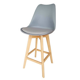 High wooden legs bar stool, chair plastic seat from Zhilang Furniture Co.,Ltd