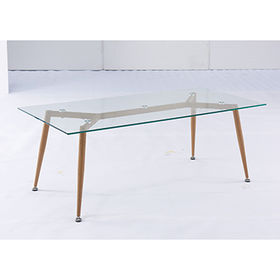Modern design cheap glass coffee table tea table with metal legs