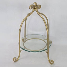 Vintage Gold Iron Four Footed Glass Fruit Trays