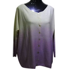 High quality 55% silk 45% cashmere blended ombre women's cardigan from Inner Mongolia Shandan Cashmere Products Co.Ltd