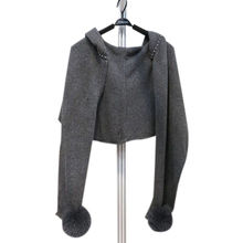 Women's cashmere knitted sweater with bulb ball, hoodie, knitted cardigan from Inner Mongolia Shandan Cashmere Products Co.Ltd