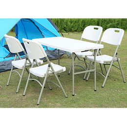 China Cheap Folding Plastic Chairs with Iron Legs