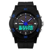 Solar Double Time LED Digital Watch, Men's Alarm Clock Chronograph Sports Watches Custom Logo 098104
