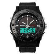 Solar Double Time LED Digital Watch, Men's Alarm Clock Chronograph Sports Watches Custom Logo 098101