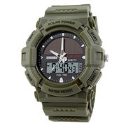 Solar LED Digital Watch Double Time Chronograph Sports Watches Water Resistant Custom Logo