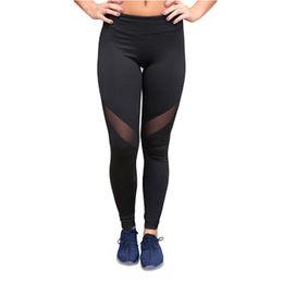 Black Mesh Insert Patchwork Sports Leggings, Made of 95%Polyester+5%Spandex