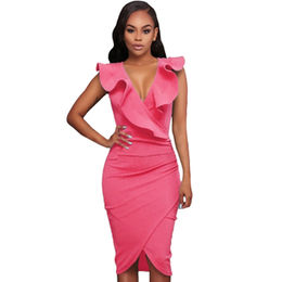 Rosy Ruffle V Neck Bodycon Midi Dress, Made of 5%polyester+95%spandex from Nan'an City Shiying Sexy Lingerie Co. Ltd