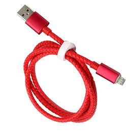 Micro to USB cable with red braided jacket for mobile phone from Dongguan Heyi Electronics Co. Ltd