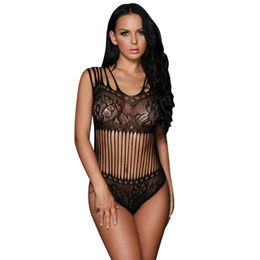 China Black Seamless Floral Lace Teddy Lingerie, Made of Polyester+Spandex