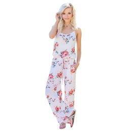 China Floral Wide Leg Jumpsuit in White, Made of 95% Polyester + 5% Spandex, ODM/OEM Orders are Welcome