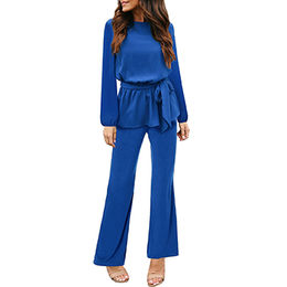 China Denim Blue Zipped Off-shoulder Wide Leg Jumpsuit, Made of 95% Polyester+5% Spandex