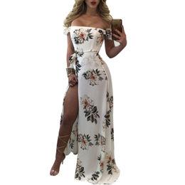 Sleeveless Off Shoulder Floral Print High Slit Maxi Dress, Made of 95% Polyester+5% Spandex