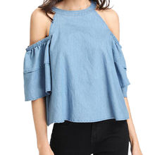 Open Shoulder Layered Sleeve Chambray Tops For