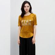 China Women's round-neck T-shirts, made of 95% viscose 5% elastane