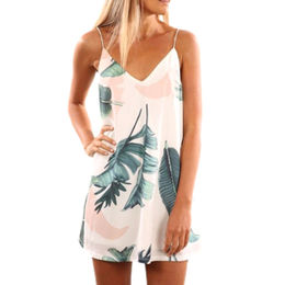 China Light Tropical Palm Print Short Dress, Made of Polyester+Spandex