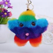 Hong Kong SAR Colorful faux fur keychain, star keychain, women's bag pendant car keychain