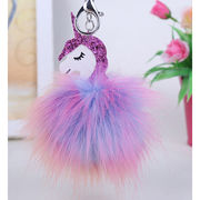 Colorful Fluffy Unicorn Pony Keychain Pendant Cute Pompom Artificial Rabbit Fur Key Chain for Bag from HK Yida Accessories Co. Ltd