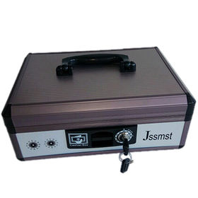 China Portable Aluminium Cash Box , 300W*200D*120Hmm, With Clip to Hold the Bills