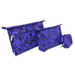 China Fashionable Rubber Patch Embossing Cosmetic Pouch Bag, Makeup Bag, Tote Bag, Handbag 3 Set