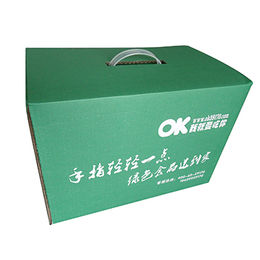 China Corrugated box, with plastic handle,Eco friendly cardboard and ink.