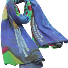 High quality knitted digital printing cashmere scarf from Inner Mongolia Shandan Cashmere Products Co.Ltd
