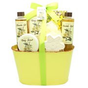 China Bath Gift Set/Basket with Show Gel, Body Lotion, Bath Bubbles, Bath Bombs in Tin Box