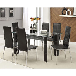 China Cheap Dining Room Set, Tempered-glass Top with PVC Leather Wrapped