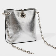 PU leather crossover bag, metallic silver PU with metal chains for FW17 from Iris Fashion Accessories Co.Ltd