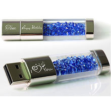 China Luxurious Crystal USB Flash Drive, Passed H2 Test/1/2/4/8/16/32G/Custom Logos and Packing Designs