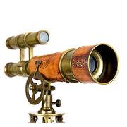 Arte y antigüedades Náutica Telescopio de cobre amarillo sobre un soporte trípode de madera 10 longitud del tubo ~ marítimo