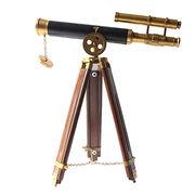 Arte y antigüedades Telescopio de cobre amarillo sobre un soporte trípode de madera 10 longitud del tubo ~ marítimo