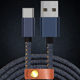 Mobile Phone Data Cable, USB A Male to Type-C Male Metal Shell Denim Braid from Changzhou AVI Electronic Co. Ltd