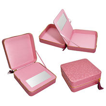 China Pink PU Leather Square Cosmetic Packaging Box
