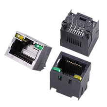 Taiwan RJ45 (8P8C) LED DIP Straight (Top Entry) Type Modular Jack PCB Connector without Panel Stop Unshield