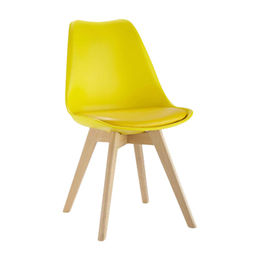 Colorful Plastic Chair with Solid Wooden Legs from Langfang Peiyao Trading Co.,Ltd