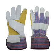China Striped Cattle Split Leather Gloves for Working Safety Gloves