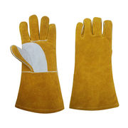 China Safety Cattle Leather Welding Working Gloves Golden Color