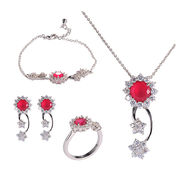 China High Quality Wholesale with Women's Cubic Zirconia Flower Bridal Jewelry Set