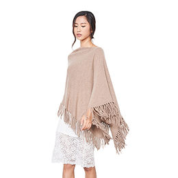 Women's Cloaks, 100% Cashmere Poncho with Fringe